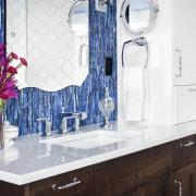 A sense of balance and a subtle nod bathroom, countertop, flooring, interior design, room, tile, white