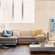 In modern commercial interiors, an eye-catching furnishing scheme angle, chair, coffee table, couch, floor, furniture, home, interior design, living room, loveseat, product design, room, sofa bed, table, wall, white