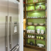 Crockery display and french door refrigerator - Crockery refrigerator, shelf, white