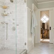 This master bathroom, in a new addition to bathroom, estate, floor, flooring, home, interior design, plumbing fixture, room, tile, wall, window, gray
