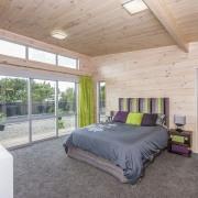 Modern Skagen Master bedroom with sliding door - architecture, bedroom, ceiling, estate, home, house, interior design, real estate, room, window, wood, gray