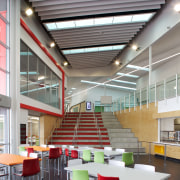 Hobsonville Point Secondary School offers enquiry-based learning architecture, cafeteria, ceiling, classroom, daylighting, institution, interior design, gray, white