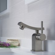 Ventus single lever faucet in chrome from Kraus bathroom, bathroom sink, plumbing fixture, product design, tap, gray