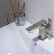 modern faucets, Unicus single lever faucet in brushed bathroom, bathroom sink, plumbing fixture, product design, sink, tap, gray