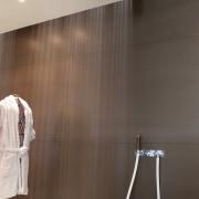 Gessi Seni shower shown with round showerhead - bathroom, ceiling, floor, flooring, interior design, light fixture, lighting, plumbing fixture, product design, room, tap, tile, brown, gray