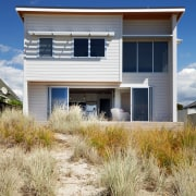 Living Area - Living Area - architecture | architecture, building, cottage, elevation, facade, home, house, property, real estate, residential area, siding, sky, blue, orange
