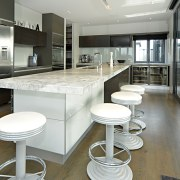 Kitchen area flooring with timber - Kitchen area architecture, countertop, interior design, kitchen, real estate, gray