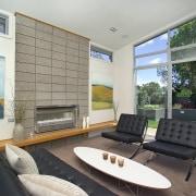 Good insulation and passive solar design ensure homes architecture, house, interior design, living room, real estate, window, gray