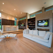 Modern living by Jalcon Homes features spacious living floor, home, interior design, living room, real estate, brown
