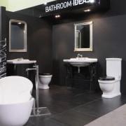 A full range of bathroom products from Robertsons, bathroom, floor, flooring, furniture, interior design, plumbing fixture, product design, public toilet, toilet, black