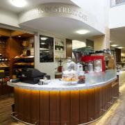The Main Street Café at Eden Village features interior design, restaurant, brown, gray, white