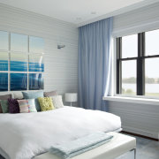 Master bedroom of row house interior remodel - bed frame, bedroom, ceiling, daylighting, home, interior design, mattress, real estate, room, wall, window, window blind, window covering, window treatment, gray, white