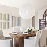 Soft cream tones, a Moooi Random light and ceiling, chair, dining room, furniture, home, interior design, living room, room, table, wall, white