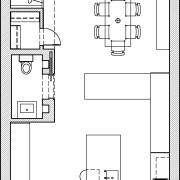 This kitchen is open to the dining area angle, area, artwork, black and white, design, diagram, drawing, floor plan, font, line, line art, plan, product, product design, structure, technical drawing, text, white