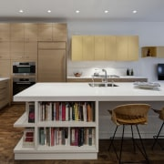Modern open plan kitchen in city house - architecture, cabinetry, countertop, cuisine classique, interior design, kitchen, room, gray, brown
