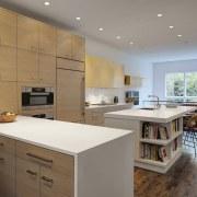 Modern open plan kitchen in city house - cabinetry, countertop, cuisine classique, floor, interior design, kitchen, real estate, room, gray, brown
