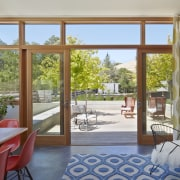 Indoor outdoor living in contemporary rural home architecture, door, estate, home, house, interior design, living room, property, real estate, window, wood, gray, brown