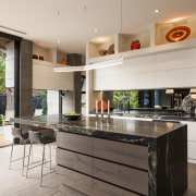 Strong contemporary lines characterise the new addition in countertop, interior design, kitchen, real estate, white
