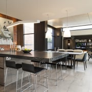 Strong contemporary lines characterise the new addition in countertop, interior design, kitchen, table, gray, black