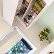 This small kitchen was completely transformed by kitchen floor, furniture, home, interior design, room, shelf, table, white