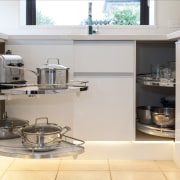Carousels help to maximise storage in the cabinetry. countertop, cuisine classique, home appliance, kitchen, kitchen appliance, kitchen stove, major appliance, small appliance, gray