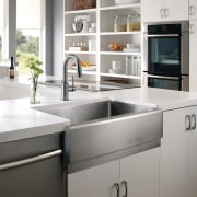 A good sink is the finishing touch to cabinetry, countertop, cuisine classique, home appliance, kitchen, kitchen appliance, kitchen stove, major appliance, product design, sink, white, gray