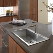 Topmount sinks are also finding favour - the bathroom sink, countertop, cuisine classique, kitchen, plumbing fixture, sink, tap, gray, brown