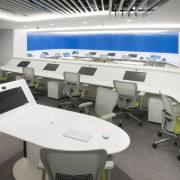 Each team in this office has a central interior design, office, product design, white, gray