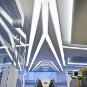 Symmetry defines the design of the new control architecture, blue, ceiling, daylighting, design, interior design, lighting, product design, structure, gray