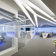 Symmetry defines the design of the new control architecture, ceiling, daylighting, interior design, office, product design, gray