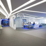 A laboratory within this office features a curved ceiling, interior design, office, gray
