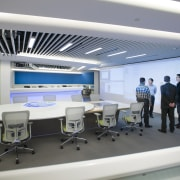 Symmetry defines the design of the new control institution, interior design, office, product design, technology, gray