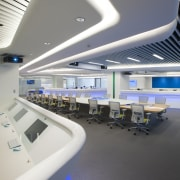 Symmetry defines the design of the new control ceiling, interior design, office, product design, gray