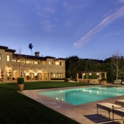 Grand Italianate new home by Landry Design Group estate, hacienda, home, house, lighting, mansion, property, real estate, residential area, resort, sky, swimming pool, villa, blue, black