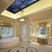 This ornate master bathroom is in an Italian bathroom, ceiling, daylighting, estate, floor, flooring, home, interior design, living room, property, real estate, room, tile, wall, window, brown