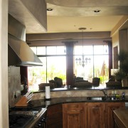 The kitchen was designed so that several people cabinetry, ceiling, countertop, cuisine classique, interior design, kitchen, room, under cabinet lighting, window, brown