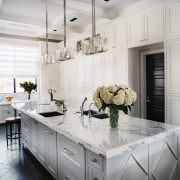 The kitchen was designed so that several people cabinetry, countertop, cuisine classique, home, interior design, kitchen, room, white, gray