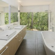 With its white walls and pale wood veneer, bathroom, estate, home, house, property, real estate, room, gray