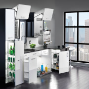 These kitchens show how Rev-A-Shelfs innovative storage products furniture, kitchen, product, product design, shelving, white, gray