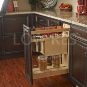 Rev-A-Shelf kitchen storage solutions - Rev-A-Shelf kitchen storage cabinetry, countertop, drawer, floor, flooring, furniture, hardwood, kitchen, shelf, shelving, table, wood, wood flooring, wood stain, brown