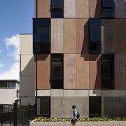 Carlaw Park Student Village in Auckland accommodates students apartment, architecture, building, condominium, daytime, facade, house, real estate, residential area, sky, urban area, wall, window, black