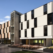 Carlaw Park Student Village in Auckland accommodates students apartment, architecture, building, commercial building, condominium, corporate headquarters, elevation, facade, home, house, mixed use, neighbourhood, property, real estate, residential area, black