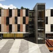 Carlaw Park Student Village in Auckland accommodates students apartment, architecture, building, condominium, facade, gray, black