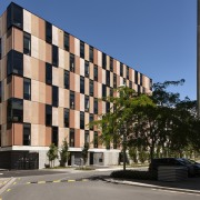 Carlaw Park Student Village in Auckland accommodates students apartment, architecture, building, commercial building, condominium, corporate headquarters, estate, facade, home, house, metropolitan area, mixed use, neighbourhood, real estate, residential area, sky, suburb, tower block, black