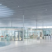 The sense of transparency on the Louvre satellite airport terminal, architecture, ceiling, daylighting, glass, leisure centre, lobby, gray