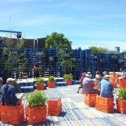 Summer Pallet Pavilion is another Christchurch Gap Filler marketplace, plant, tree, teal