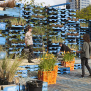 Summer Pallet Pavilion is another Gap Filler initiative. city, leisure, outdoor structure, plant, recreation, tree, water
