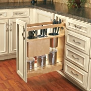 These kitchens show how Rev-A-Shelfs innovative storage products cabinetry, countertop, cuisine classique, drawer, floor, flooring, furniture, hardwood, kitchen, laminate flooring, tile, wood, wood flooring, wood stain, brown