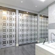 Designer Diane Taitt of De Space Designs took ceiling, door, floor, flooring, glass, interior design, room, tile, wall, window, gray, white