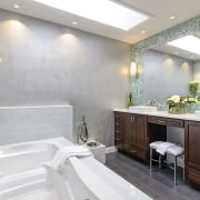A Caribbean look is evoked in this mural bathroom, home, interior design, room, white, gray